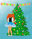 Girl decorating Christmas tree Royalty Free Stock Photography