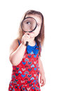 Girl detective on white Stock Photo