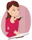 Girl and diary Royalty Free Stock Photo