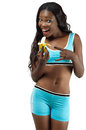 Girl on diet holding banana isolated white background Royalty Free Stock Images