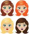 Girl with different hair and makeup cartoon vector illustration of look redhead brunette blonde visage or style change Royalty Free Stock Image