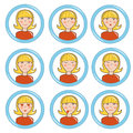 Girl in different mood, set Royalty Free Stock Photo