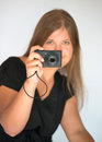 Girl with digital camera Stock Photo
