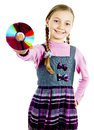 Girl with a disk Royalty Free Stock Image