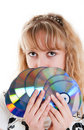 Girl with disks Stock Photo