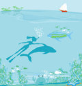Girl diver floats together dolphin illustration Royalty Free Stock Photos