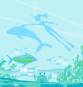 Girl diver floats together dolphin illustration Royalty Free Stock Image