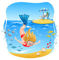 Girl diving into the sea Royalty Free Stock Photo
