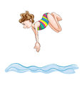 A girl diving into water Royalty Free Stock Image