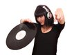 Girl dj with lp beautiful Stock Image
