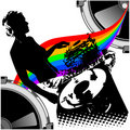 Girl DJ and Rainbow Music. Royalty Free Stock Images