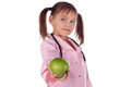 image photo : Girl, a doctor, the child, apple