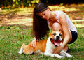 A girl and a dog Royalty Free Stock Image
