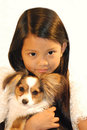 Girl with dog asian school Royalty Free Stock Photos