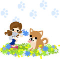 A girl and a dog and a bouquet who presents to pretty Royalty Free Stock Image