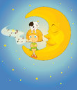 Girl dog and moon illustration of a in night sky Stock Photos