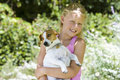 Girl (8-10) With Dog Outdoors,...