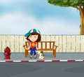 A girl and a dog sitting along the road illustration of Royalty Free Stock Image