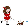 Girl with dog vector illustration