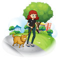 A girl with a dog walking along the street illustration of on white background Royalty Free Stock Photography