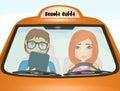 Girl doing driving school examination