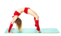 Girl doing exercise bridge young gymnast exercises Royalty Free Stock Images