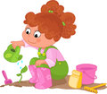 Girl doing gardening cute young watering a sprout digital illustration for children Stock Photos