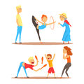 Girl doing gymnastics dance with hoop. Juggler playing with pins. Circus or street actors set of colorful cartoon