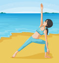 A girl doing her exercise at the seashore illustration of Stock Photos