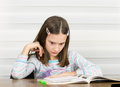Girl doing homework concentrated on at home Stock Photos