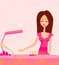 Girl doing manicure in beauty salon young lady Royalty Free Stock Photo