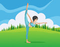 A girl doing yoga across the pine trees illustration of Stock Image