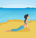 A girl doing yoga at the beach illustration of Stock Photography