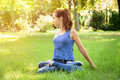 Girl Doing Yoga In Nature
