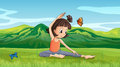 A girl doing yoga near the hills illustration of Royalty Free Stock Photo