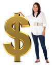 Girl with a dollar sign Royalty Free Stock Photo
