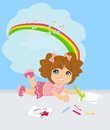 A girl drawing a rainbow Royalty Free Stock Photo