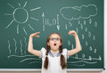 Girl drawing water circulation on school board a Stock Image