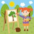 Girl draws on canvas in the forest