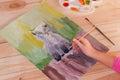 Girl draws gouache Royalty Free Stock Photo
