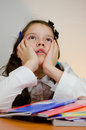 Girl dreaming teenager too tired after homework and to holiday Royalty Free Stock Image