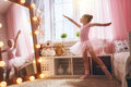 Girl dreams of becoming a ballerina Royalty Free Stock Photo