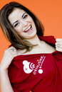 Girl in Dreamstime Shirt Royalty Free Stock Images