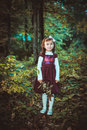 Girl in a dress at autumn Stock Images