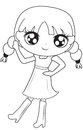 Girl in dress with boots coloring page
