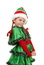Girl in a dress of the Christmas elf. Stock Photography