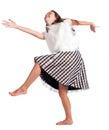 Girl in dress dances Royalty Free Stock Photo