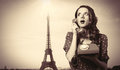 Girl in dress with dial phone Royalty Free Stock Photo