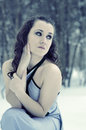 Girl in a dress on a frost Stock Photos