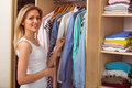 Girl in a dressing room Royalty Free Stock Photo